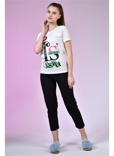 Rodi Jeans Kadın Baskılı Penye Pijama Takımı TY20YB661790 Krem